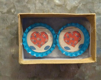 Heart Bottlecap Magnets