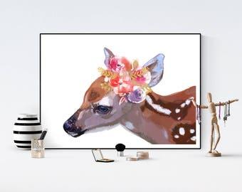 Doe deer  floral crown Children room quote art PRINT 11'' x 13'' hand drawn print
