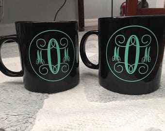 "Momagrammed"" Ceramic Black Coffee Mugs"