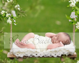 Digital background, scenery, newborn babies, boys, girls, swing