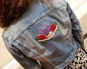 Unique Upcycled Hand Embroidered Swallow and Rose Denim Jacket UK 8