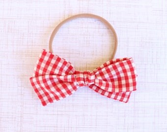 Red Gingham Hand-Tied Bow