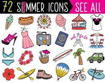 MEGA Bundle Summer Planner Sticker Clipart, vector, summer clipart, doodle summer, bullet journal stickers, summer stickers, summer icons