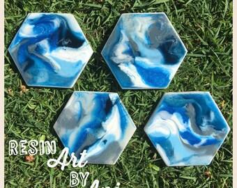 Resin marble coasters - hexagonal set4 pieces
