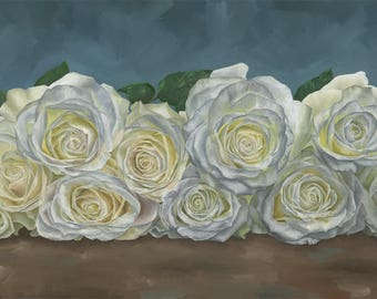 10 White Roses -  Limited Edition Print