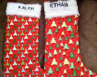 Quilted Christmas Stocking with Fur Top & Namer - Custom Made to Order