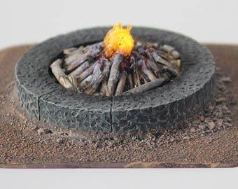 Cut Stone Fire Pit - LED Lit
