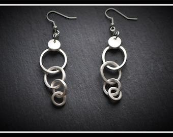 Circles Drop Earrings, Silver Precious Metal Clay (PMC), Handmade, Earrings - (Product Code - ACM006-17)