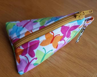 Fabric Keyring Zip Pouch butterflies colourful bright