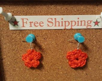 Red Crochet Flower French Hook Earrings free shipping crochet flower earrings sterling silver earrings flower earrings gift crochet gift