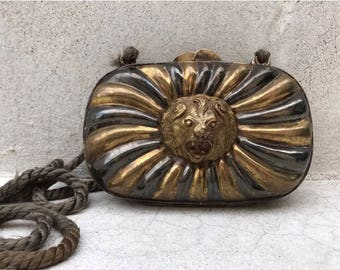 Vintage Roaring Lion Brass Purse Clutch