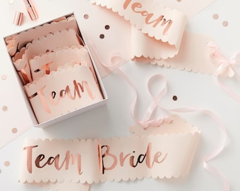 Pink & Rose Gold Team Bride Sashes, Hen Party, Team Bride, Bridal Party Sashes, Bachelorette Party, 6 Pack