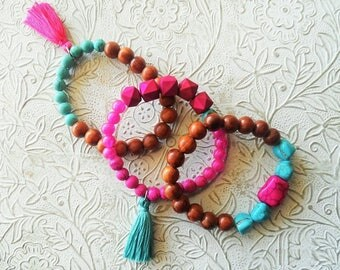Plus size beaded bracelets - Set of 3