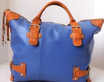 Weekender  Bag, Travel Bag, Vegan Travel Bag, Faux Travel Bag, Blue Bag, Weekend Bag