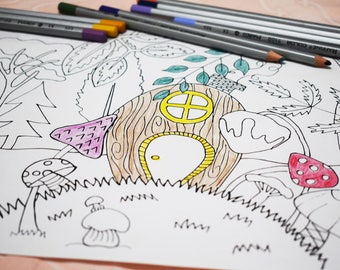 Coloring page for kids,Forest coloring page,Coloring page,Kids color sheet,Kids activity,creative kids,children coloring,instant download