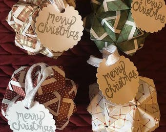 Four Origami Christmas Ornaments