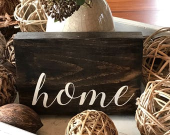 Home Sign - Home Wood Sign - Hello Wooden Sign - Hand Painted Sign - Wood Sign - Wooden Sign - Home Decor - Custom Sign - Welcome Sign