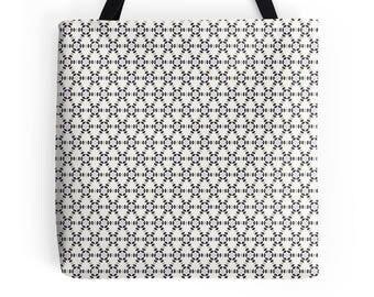 White geometric Bag, Geometric tote bag, market shopper, white tote bag, geometric print, shopping bag, tote shopper, market bag, Tote Bag