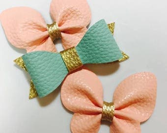 Mint & Gold Faux Leather Bow