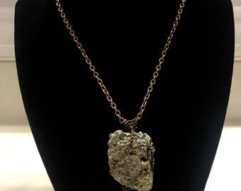 Pyrite wire wrapped pendant necklace