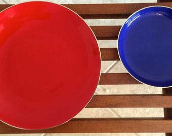 Pair of Cathrineholm Enamel on Stainless Steel Plates - Red and Blue