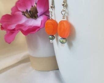Orange and Blue handmade Earrings