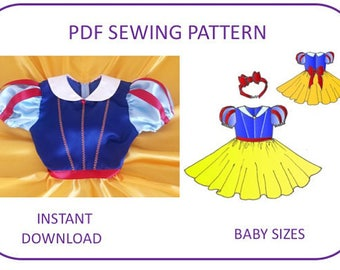 Snow White pattern Computer drafted PDF sewing pattern. Baby Toddler size First Birthday dress Halloween costume Snow White princess pattern