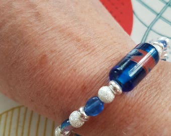 Pretty blue and silver bracelet with toggle clasp | For her | Ideal present