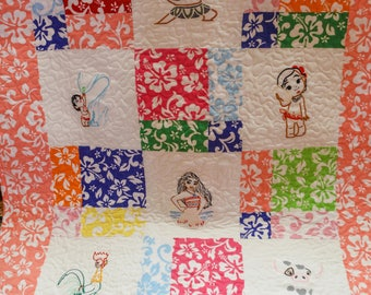 Handmade Moana flannel baby quilt
