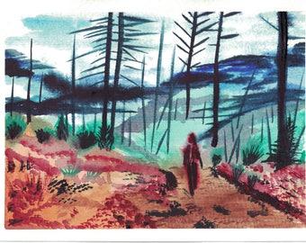 Wilderness Walk (original watercolor print)