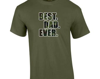 Best Dad Ever T Shirt Fathers Day Shirt Dad Papa Pop Pops Papaw Father World's Greatest Dad T-Shirt Dad Life Camo Print