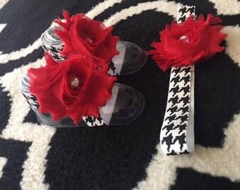 Baby barefoot sandals and matching headband set