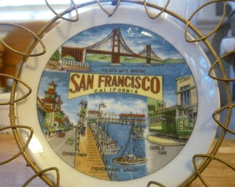 1960s San Francisco map collectible plate with stand