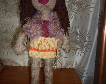 "Hand Knitted ""Babe"" doll, 22 inches, Rose"