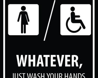 x2 two restroom bathroom signs gender neutral unisex mens womens handicap accessible whatever just wash your hands free shipping