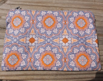 Zip Pouch Peach and Gray