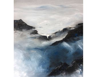 """abstract landscape oil on canvas - mountains and fog - blue black white 18"""" x 24"""""""