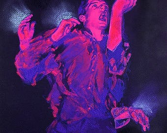 Ian Curtis Joy Division Dancing She Lost Control - Ink, Acrylic, pastel, and color pencil on Arches paper surreal dreamlike black light
