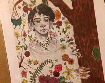 Hand Drawn Elven Floral Prints