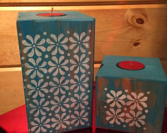 Teal Candle Holders - Set of 2