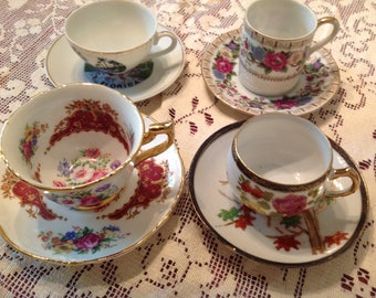 Vintage Demitasse Cups and Saucers, Set of 4