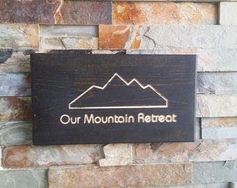Our Mountain Retreat Rectangular Reclaimed Cull Wood Sign Engraved and Carved