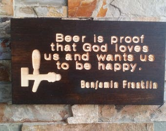 Ben Franklin Beer Quote Engraved Reclaimed Cull Wood Rectangular Espresso Finish Man Cave Bar Wooden Sign
