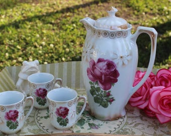 Shabby Chic Rose Pitcher with 3 rose teacups