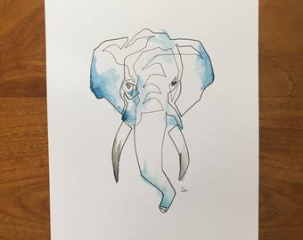Elephant Watercolour Wall Art