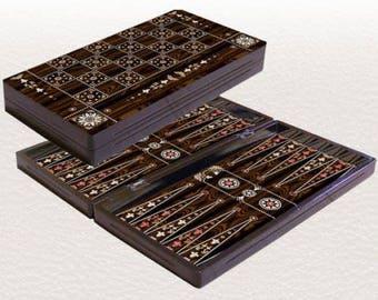 "19""Backgammon set travel foldable family board game set, Yenigun pearl design."