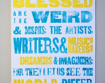 Turquoise and Yellow Letterpress Poster