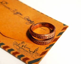 copper stamped pattern ring size fixable. handmade. beautiful. special. elegant