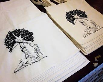 Adam&Eve tote bag__Screen printed