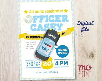 Police Birthday Invitation - Police officer - cops and robbers - 5x7 - printable digital file